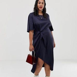 Glamorous Curve Navy Tonal Jacquard MIDI Dress